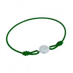 Náramek provázek Circle - zelený a šedá perleť