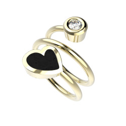 Prsten Heart Twin - černý